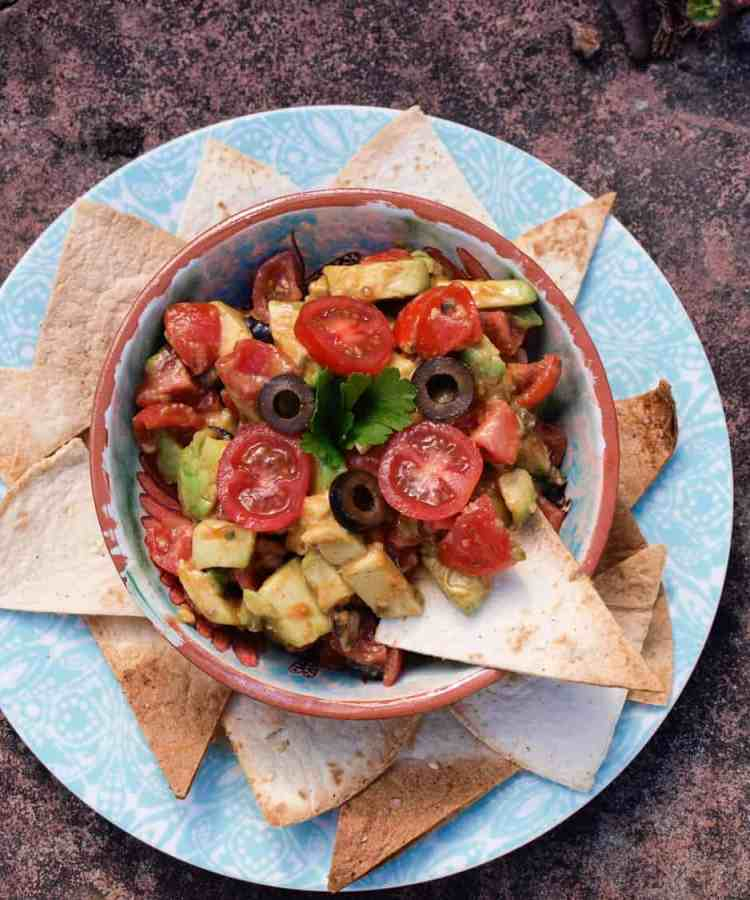 Avocado and Olive Salsa with HealthyFry Tortilla Chips