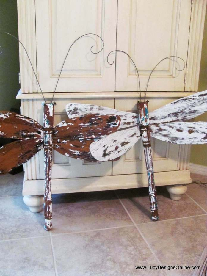 Wooden Table Leg Dragonfly Garden Decorations