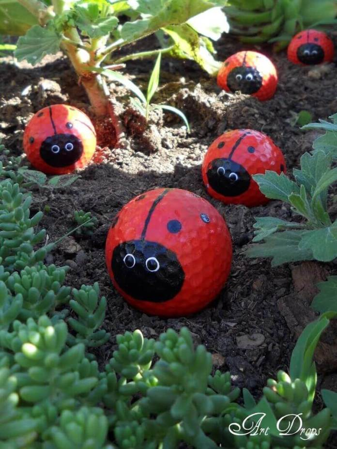 Cute Painted Golf Ball Ladybugs