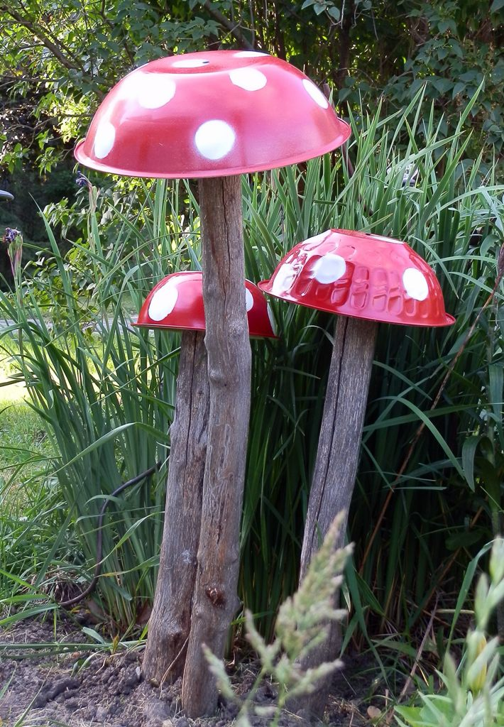 Garden Mushrooms from Logs and Painted Steel Bowls