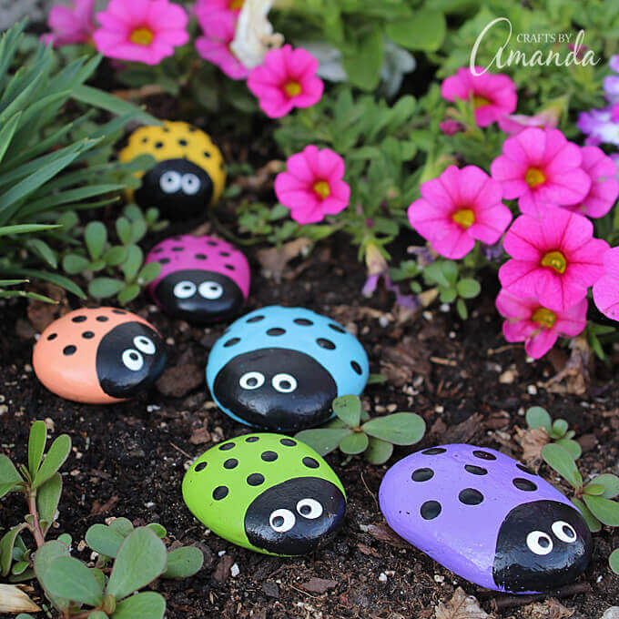 Cute Painted Rock Ladybug Decorations