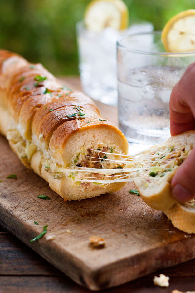 Cheesy Jalepeno & Bacon Stuffed Baguettes