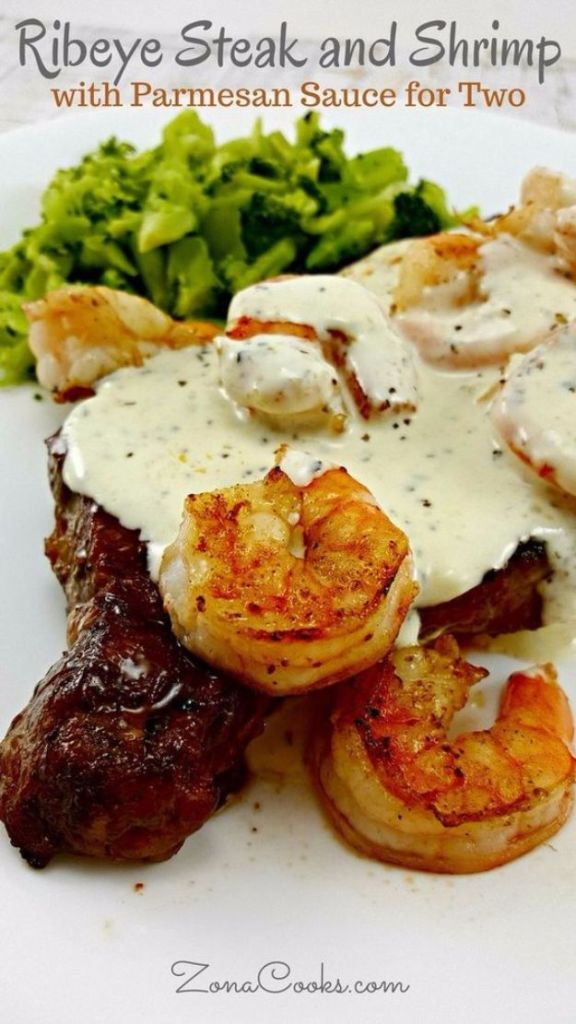 Rib Eye Steak And Shrimp With Parmesan Sauce Recipe For Two