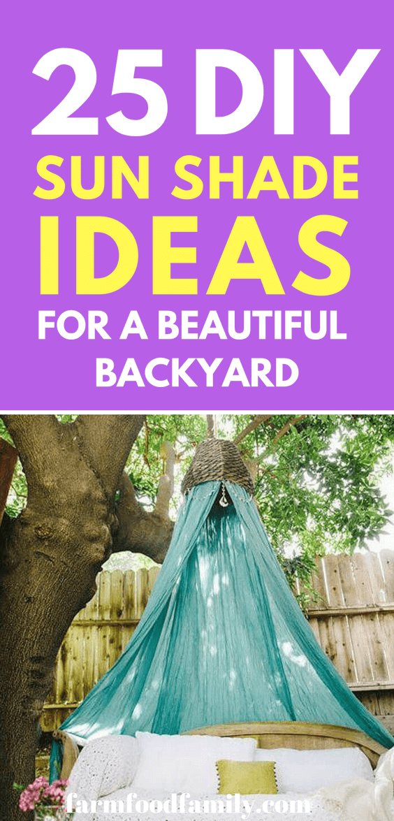 Take a look at these amazing DIY Backyard sun shade ideas #backyard #gardenideas #farmfoodfamily
