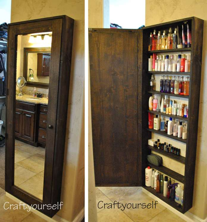 DIY Mirror Door Bathroom Cabinet