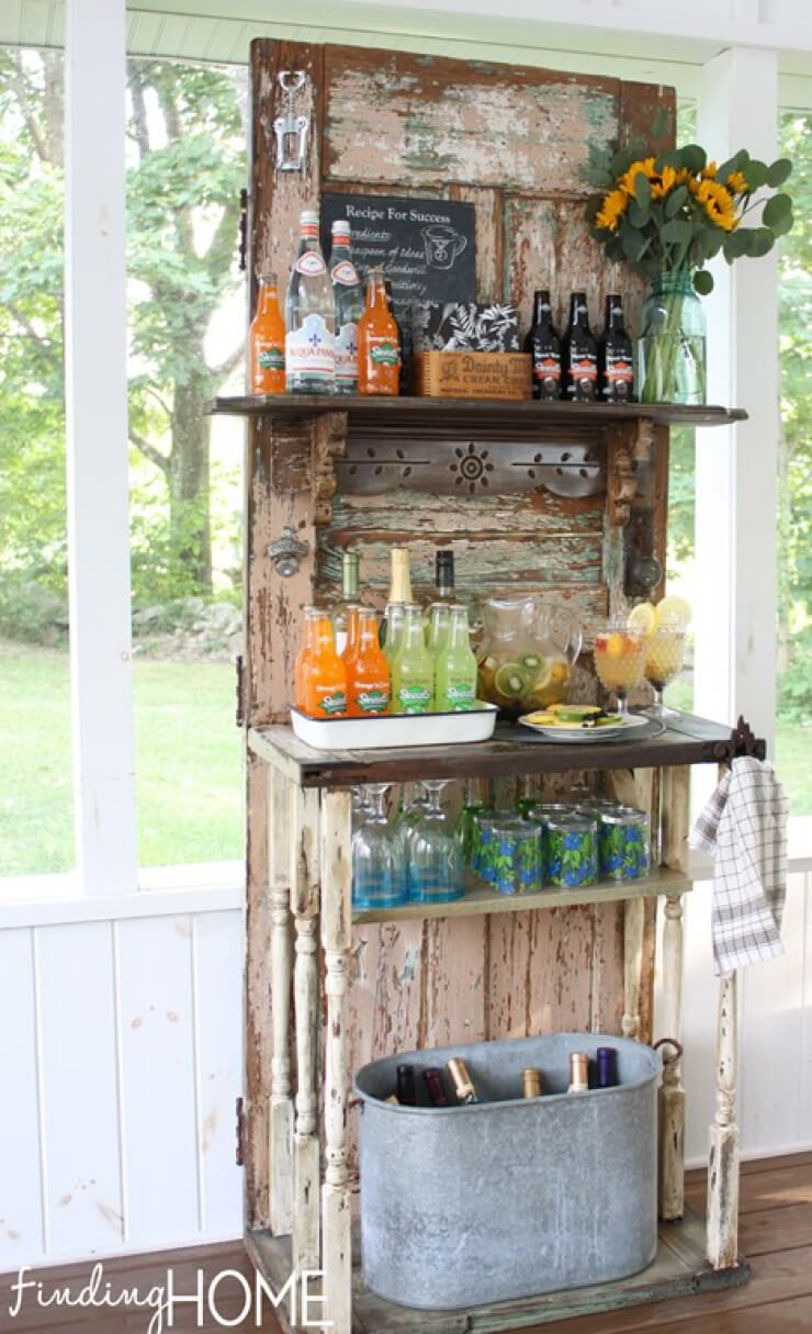 A Rustic Cottage Bar with Banister Supports