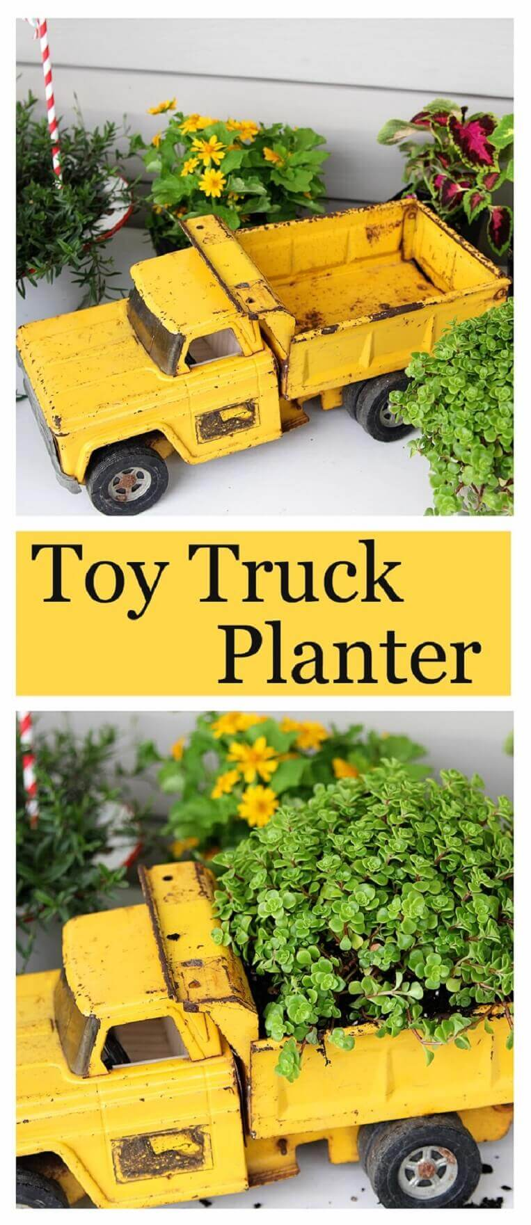 Repurposed Garden Container Ideas with a Toy Truck
