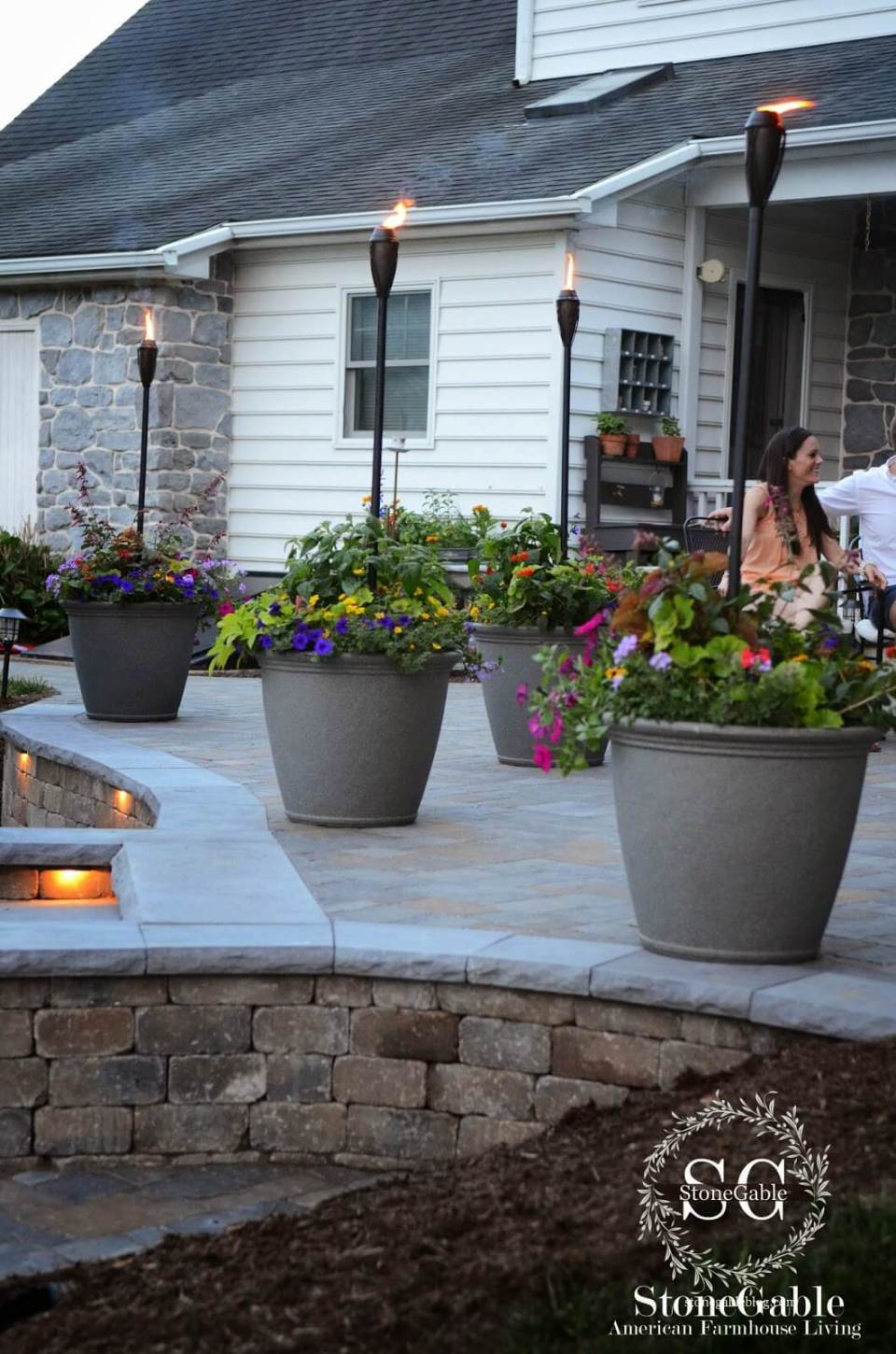 Oversize Planter Pots and Tikki Torch