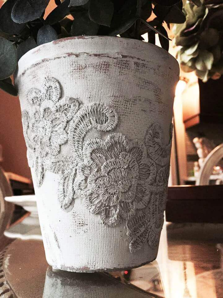 Dress Up Distressed Flowerpots with Embroidered Details