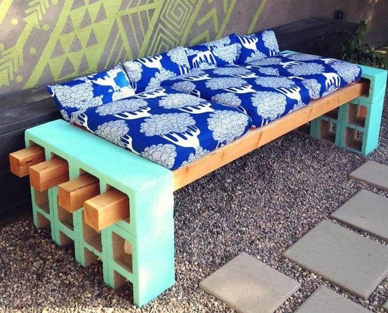 Upcycled Painted Cinder Block Cushioned Bench