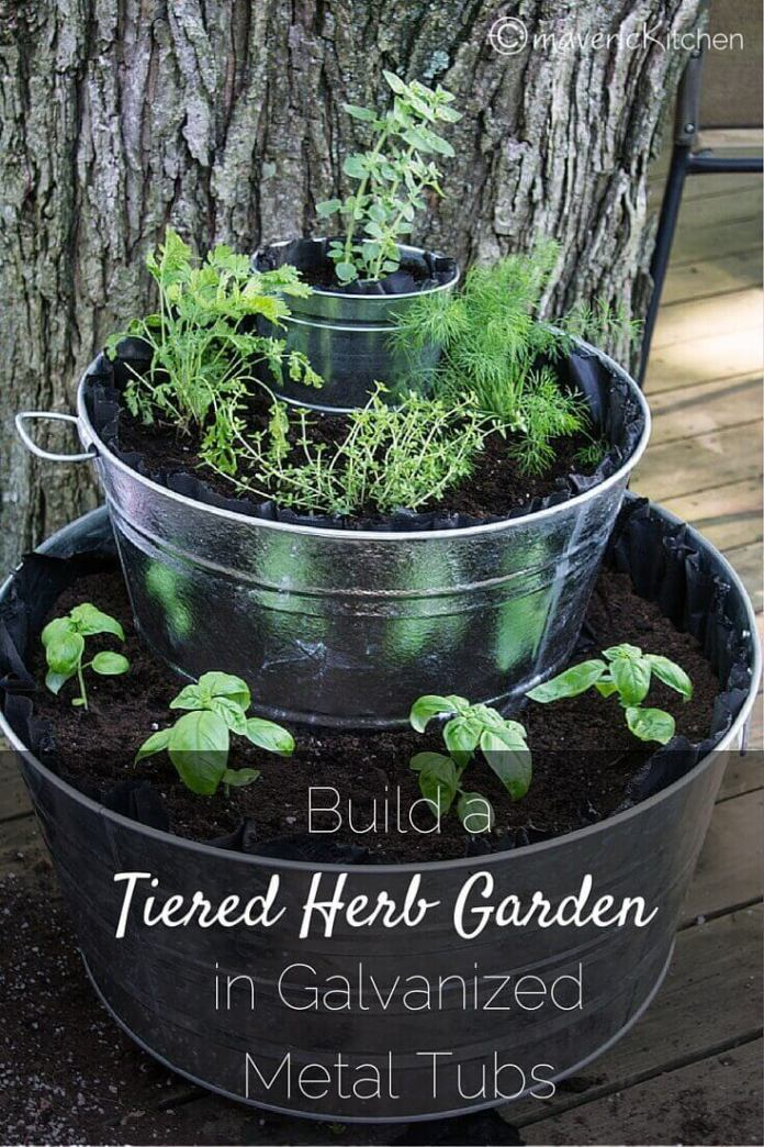 Fountain of Herbs in Tiered Metal Tubs