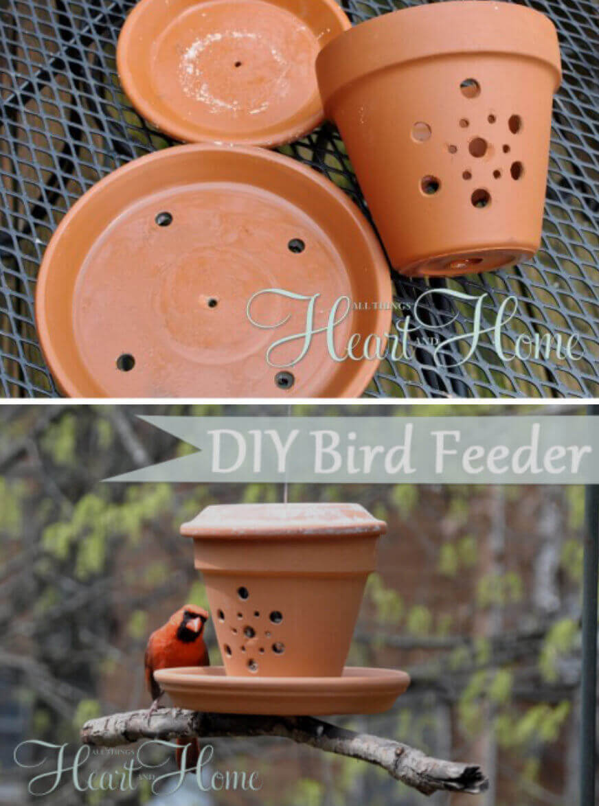Drill Holes in Pots for a Bird Feeder