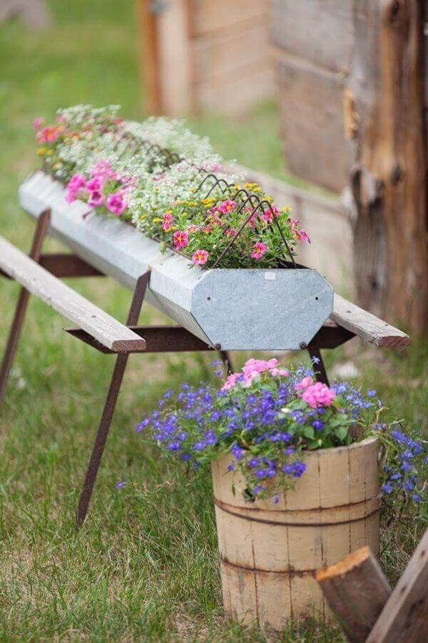 Repurposed Garden Container Ideas with Blossoms