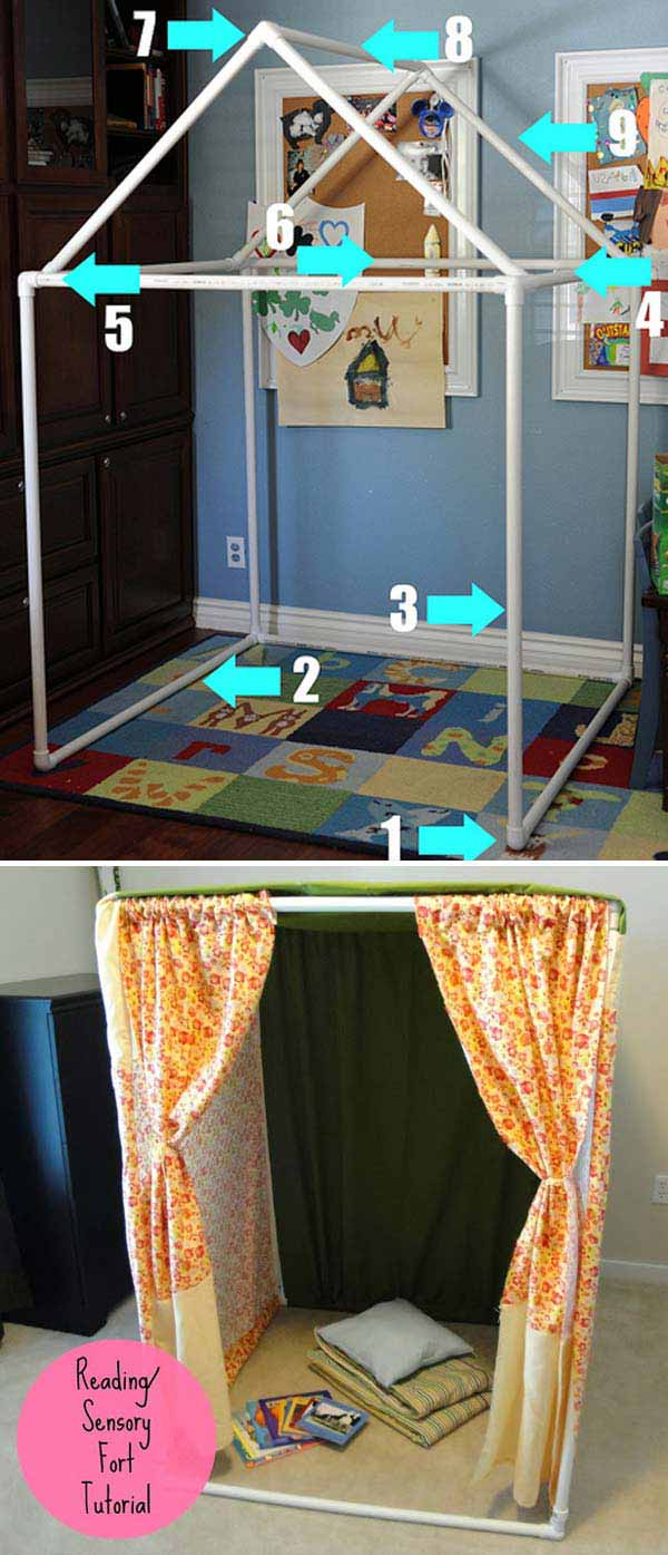 Portable and Storable Pipe-Frame Play Forts