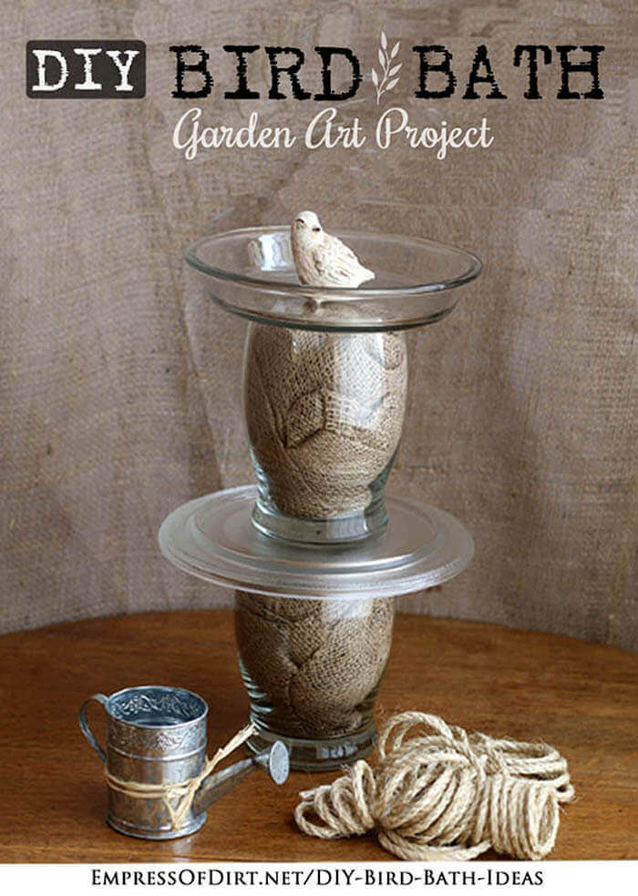 Glass Bird Bath with Crumpled Burlap Decoration