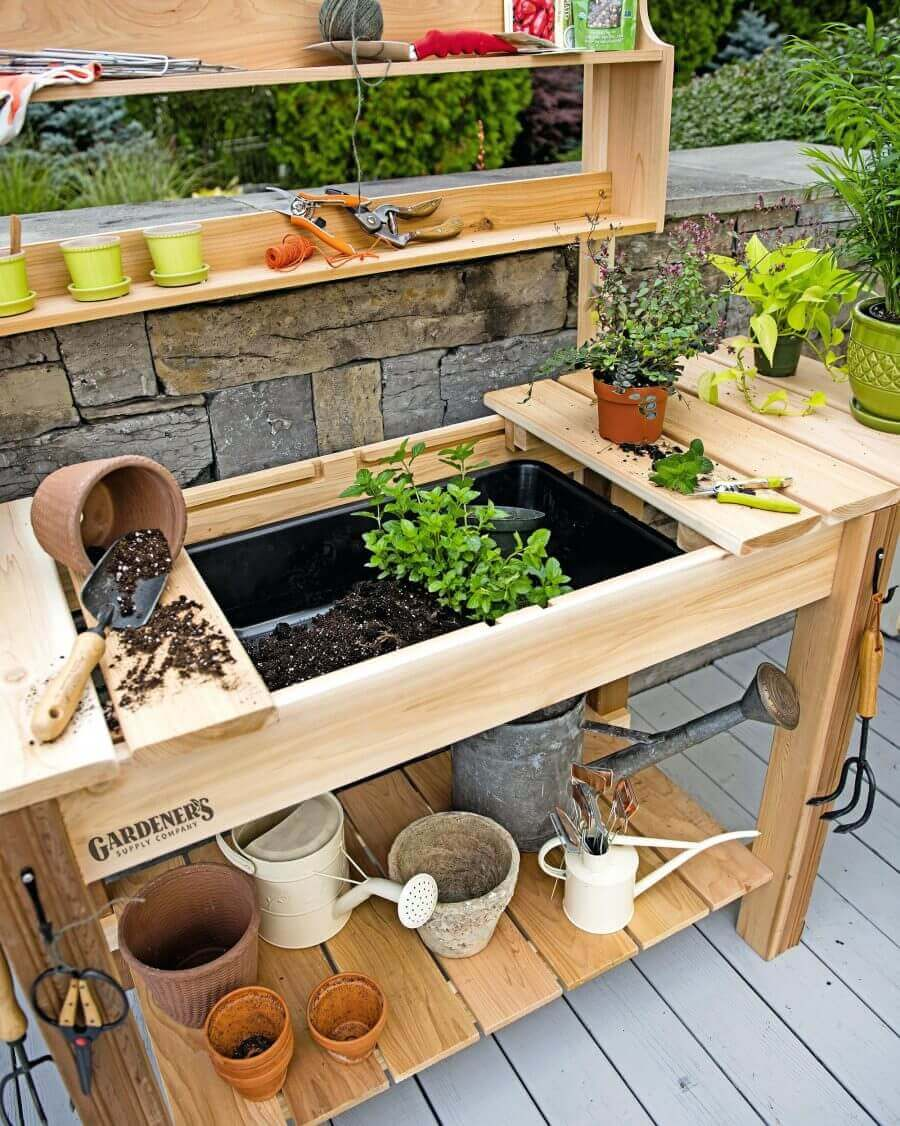 Garden Workstation with Hidden Potting Soil