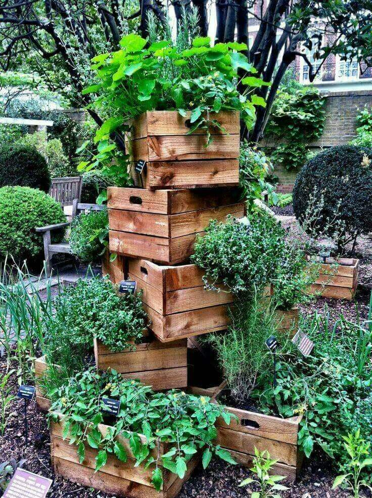 Stacked Crates with Overflowing Greenery