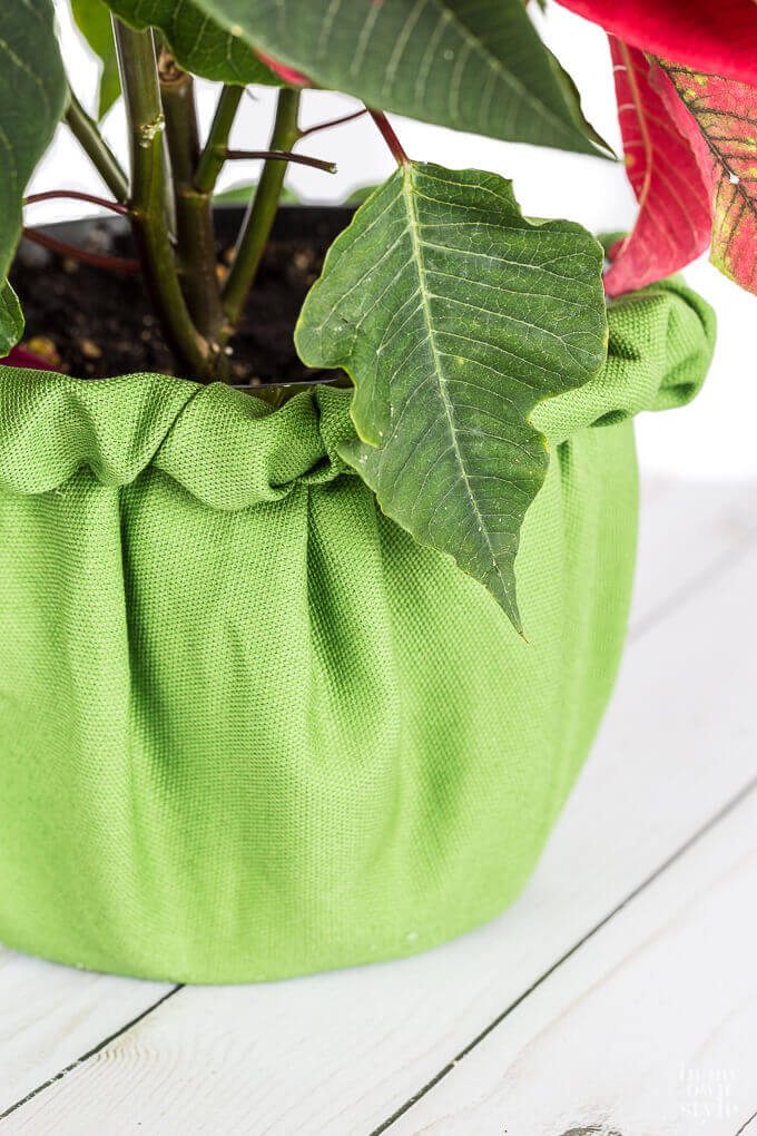 Festive Cinched Fabric Jardiniere Craft