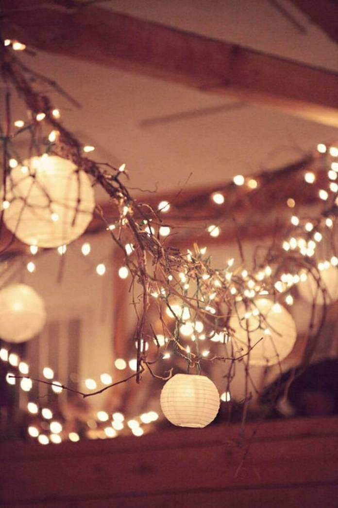 Rustic Grapevine and Chinese Lantern Garland