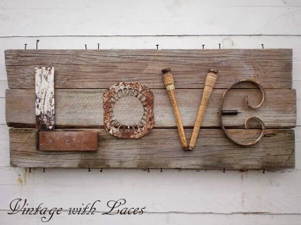One of a Kind Upcycled Love Art