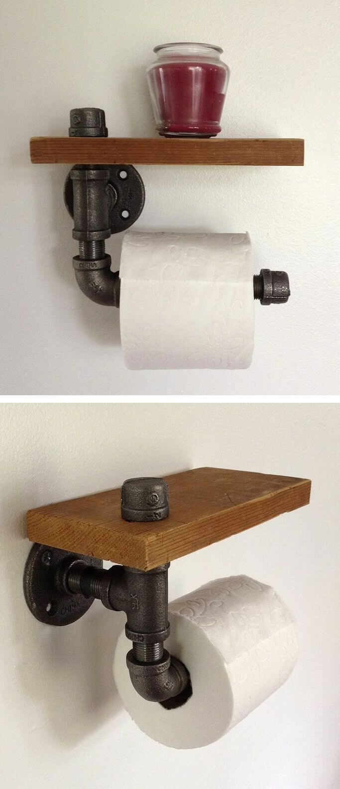 Pipe-fitting Toilet Paper Holder with Shelf