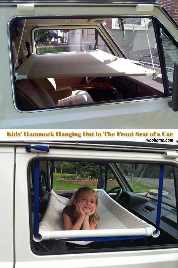What a great idea to make a kid's hammock hanging out in the front seat of a car