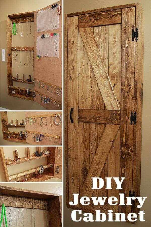 DIY Barn Door Jewelry Cabinet
