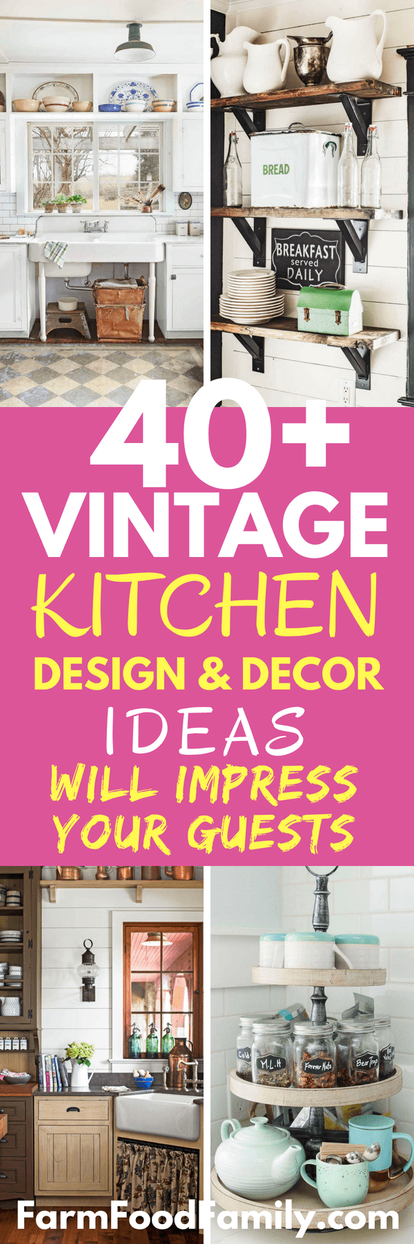 Finding the decor ideas for your kitchen? Check out 40 vintage kitchen design and decor ideas in this post. #homedecor #kitchendecor #farmfoodfamily