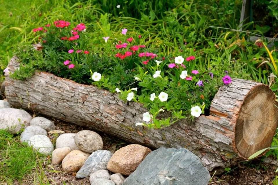 DIY Rustic Log Flower Container