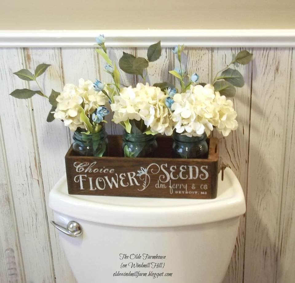 Flower Crate with Mason Jar Vases Decoration