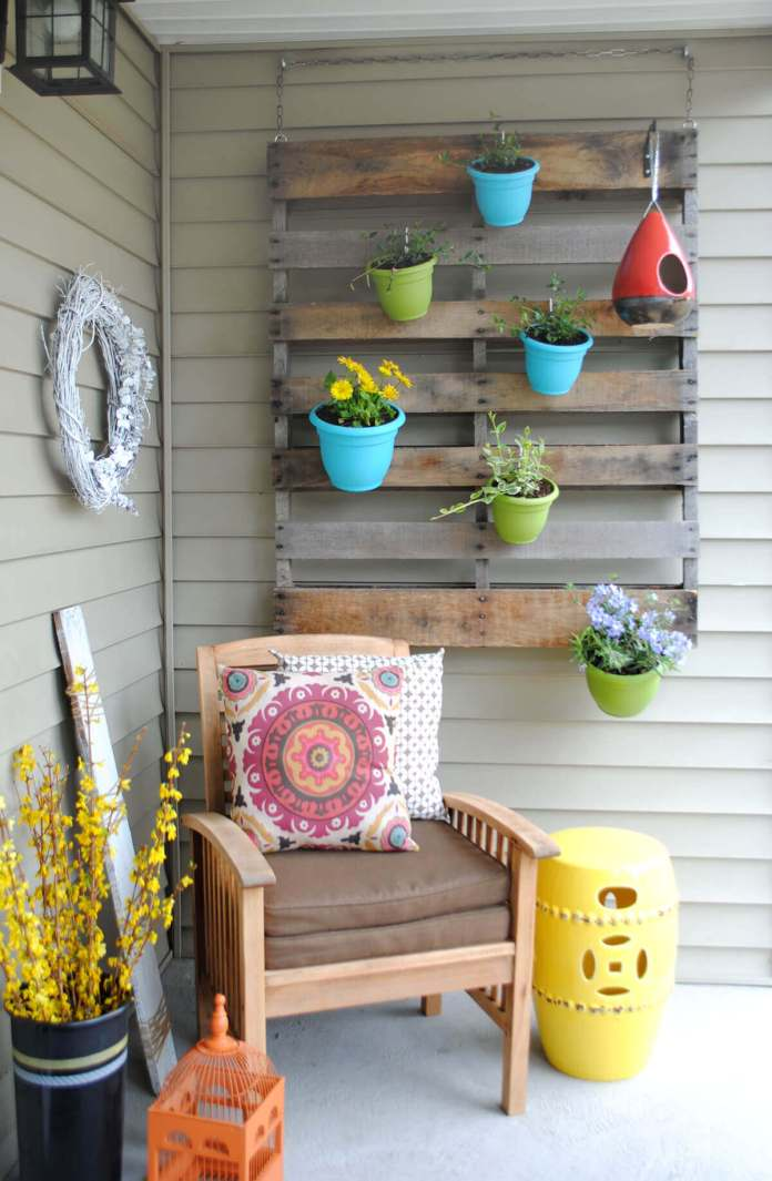 A Colorful Hanging Garden for Your Porch