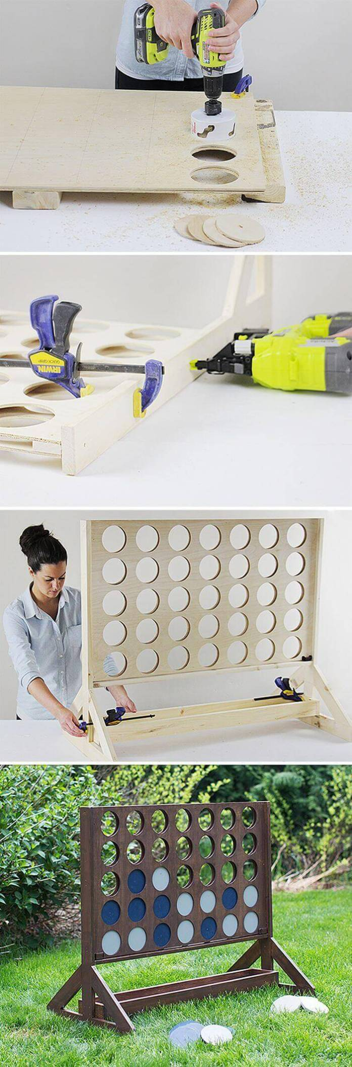 A Wooden, Life-Sized Connect Four Board