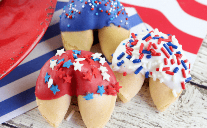 Patriotic Chocolate Covered Fortune Cookies