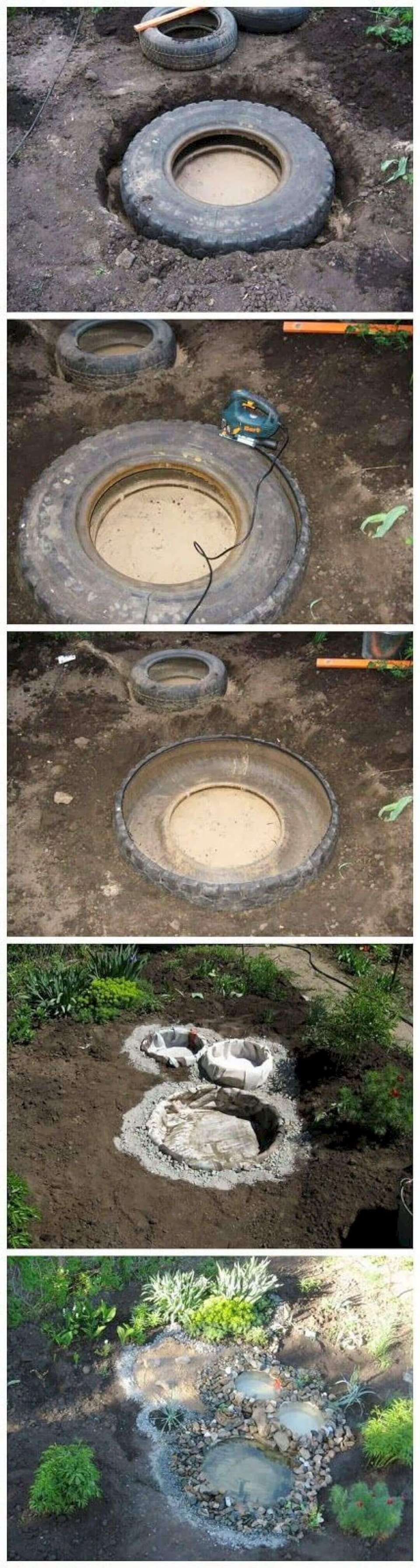 Multi-Basin Recycled Tire Water Feature