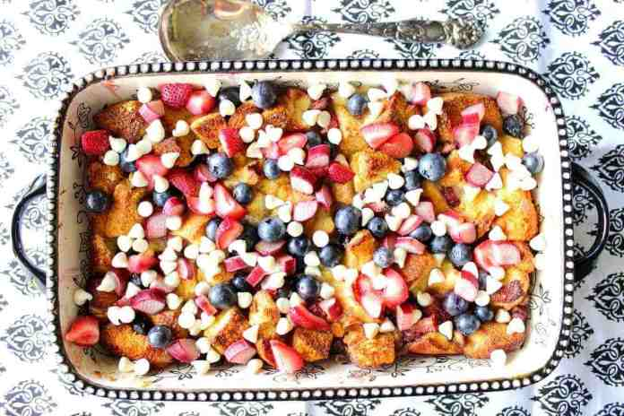 Easy Red White and Blue Bread Pudding Dessert