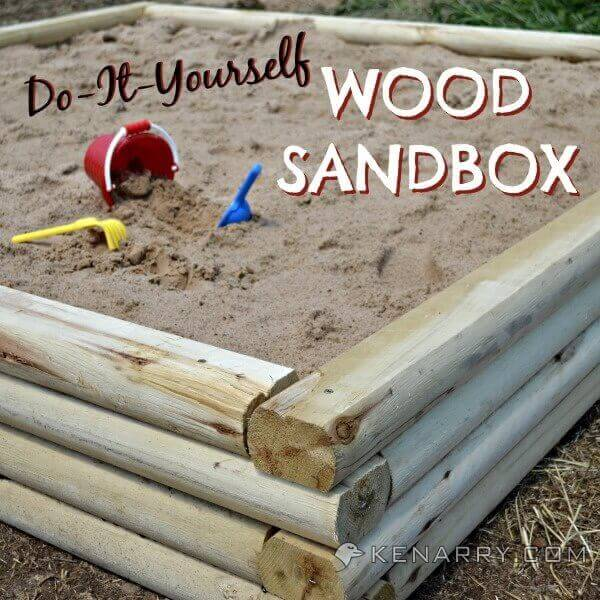 A Log Cabin-Style Wooden Sandbox