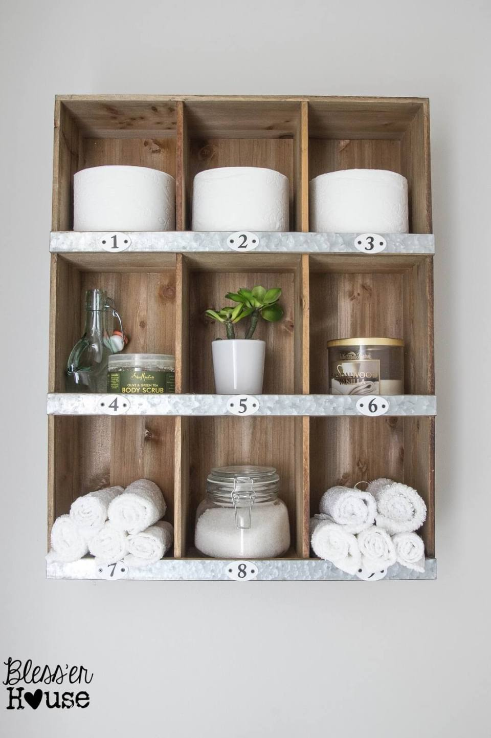 DIY Wood and Metal Cubby Organizer