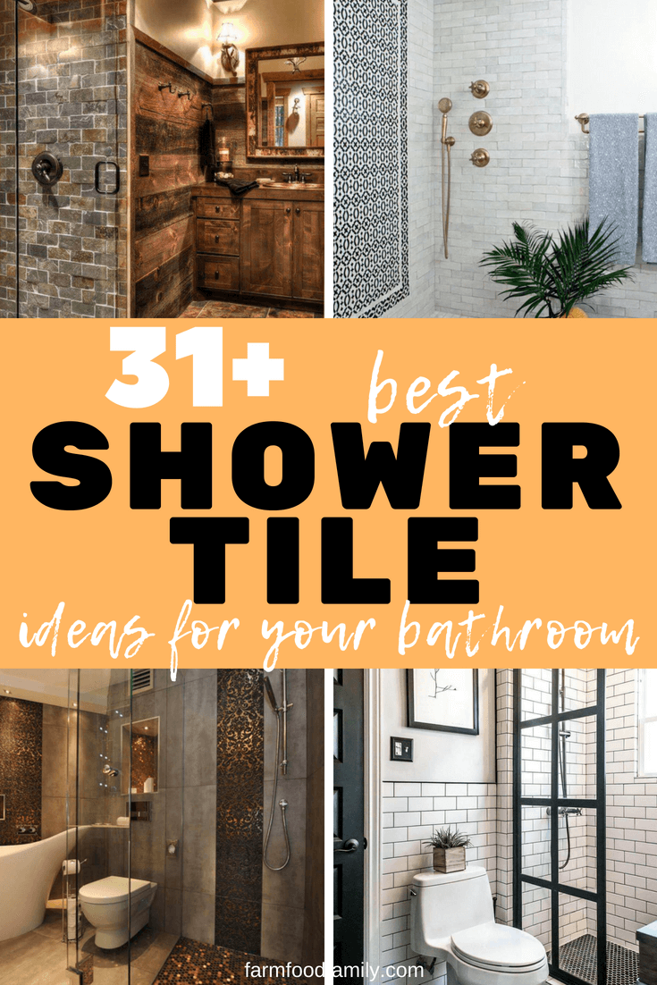 Looking for shower tile ideas for your bathroom? Here we've collected 31+ stunning shower tile ideas to help you decorating your bathroom. #bathroom #bathroomideas #bathroomdesign #showertile #rusticfarmhouse #farmfoodfamily