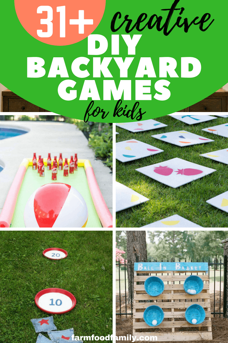 Summer is the great time for outdoor activities, and here we've gathered these 31+ DIY backyard game ideas that your kids will love. #kids #kidsactivities #diy #backyard #farmfoodfamily