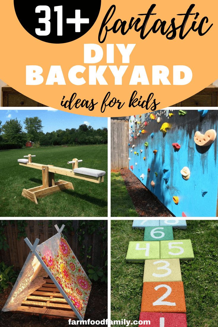 Summer is just around the corner, to help your child have a meaningful summer with educational games. We've gathered these 31 exciting diy backyard ideas so your kids can play and relax as well. #kids #kidsactivities #diy #backyard #farmfoodfamily