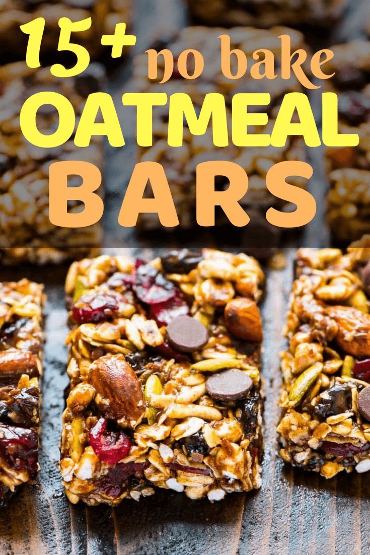 Over 15 of the Best No-Bake Oatmeal Bars Desserts - including chocolate, peanut butter, banana, and more! #desserts #dessertrecipe #nobakedessert #nobake #nobakebars