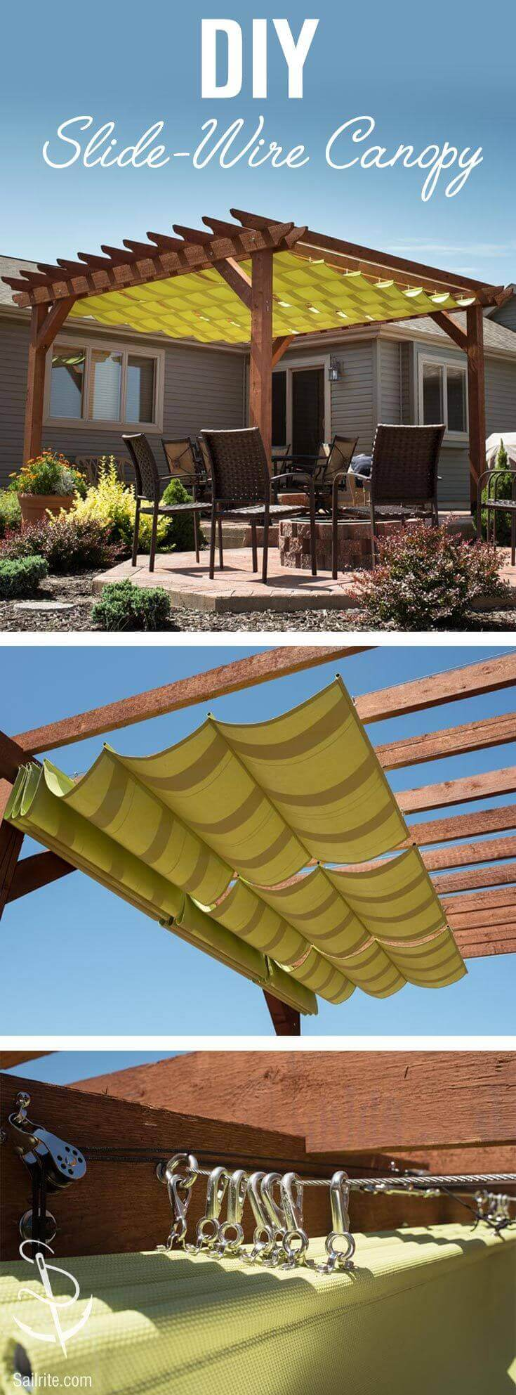 DIY Pergola Ideas: Sunny Slide-wire Style Pergola
