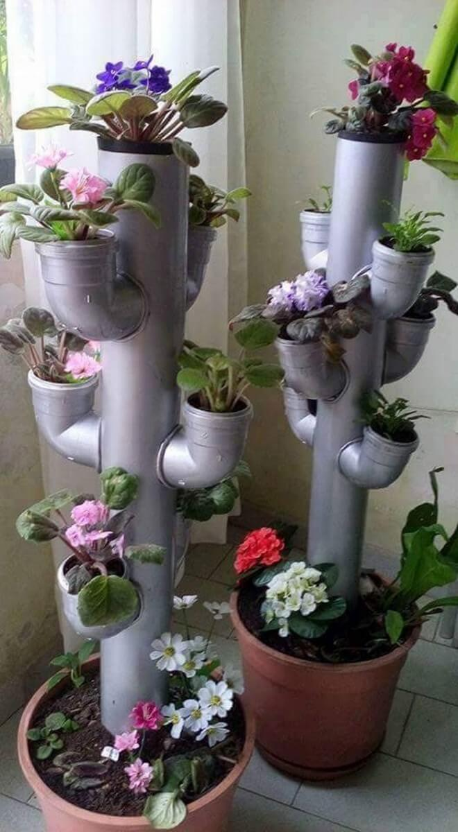 DIY Flower Towers Ideas: Creating a Cactus Tower from Pipes