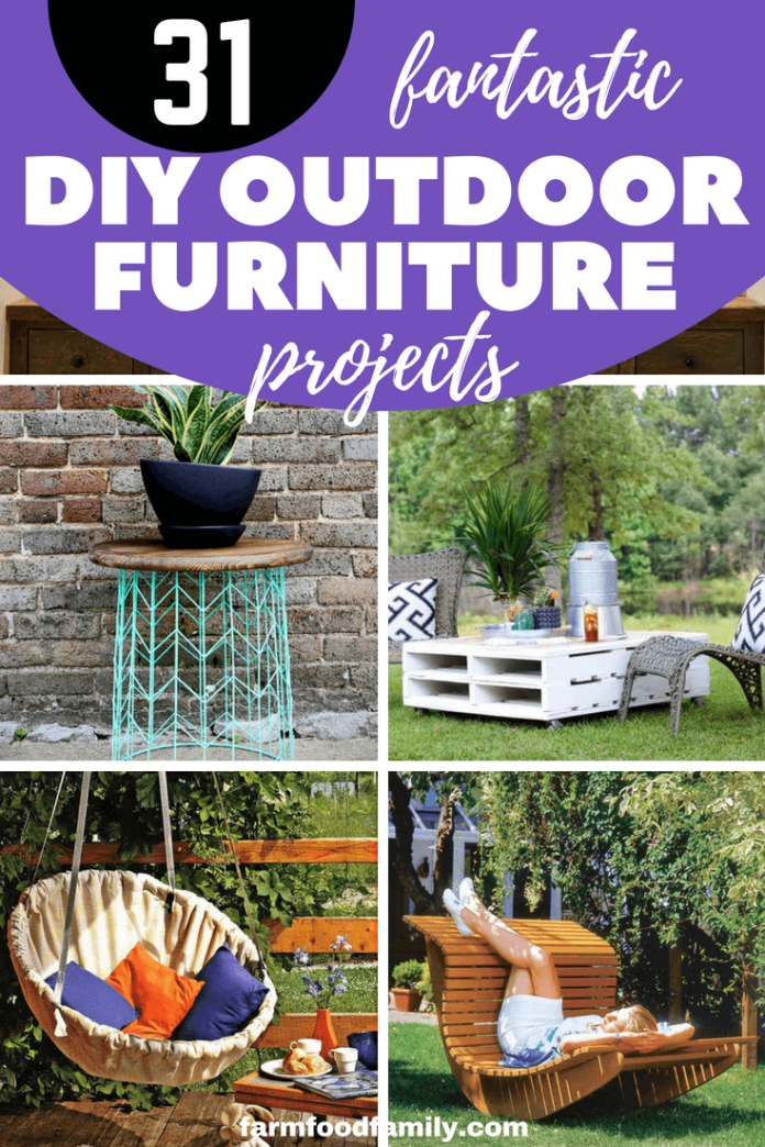 From repurposed items such as tables, chairs, sofas you can create beautiful furniture yourself for your garden. We have collected 31 most impressive furniture designs for you to choose and apply for your outdoor. #diy #outdoorfurniture #diyideas #farmfoodfamily
