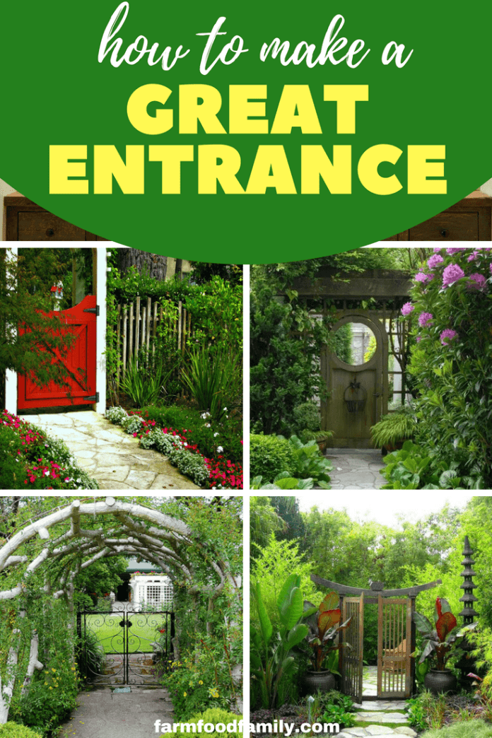 A garden entry tells a story. How you allow yours to unfold is up to you. From vintage door gates to a beautiful garden arbour, an abstract Corten entry or a pretty pathway lined with blooms, there are many different ways you can make a signature statement. #garden #gardeningtips #entrance #farmfoodfamily