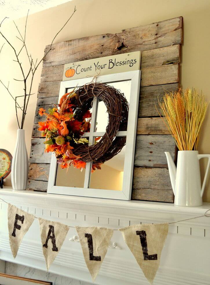 Simple, Rustic and Bright Fall Mantel Decorations | Fall Mantel Decorating Ideas For Halloween
