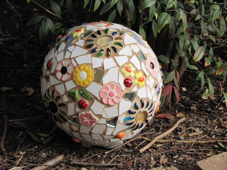 Mixed Glass, Ceramics, and Decorations | DIY Garden Ball Ideas