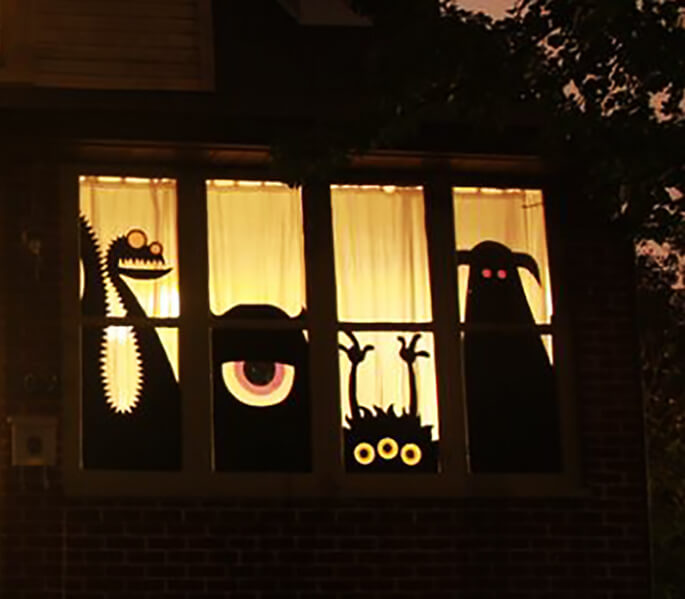 The Monster Mashup | DIY Halloween Window Decoration Ideas