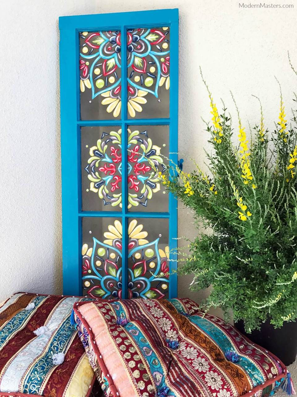 Tole Painting on Bright Blue Window Frame   DIY Painted Garden Decoration Ideas