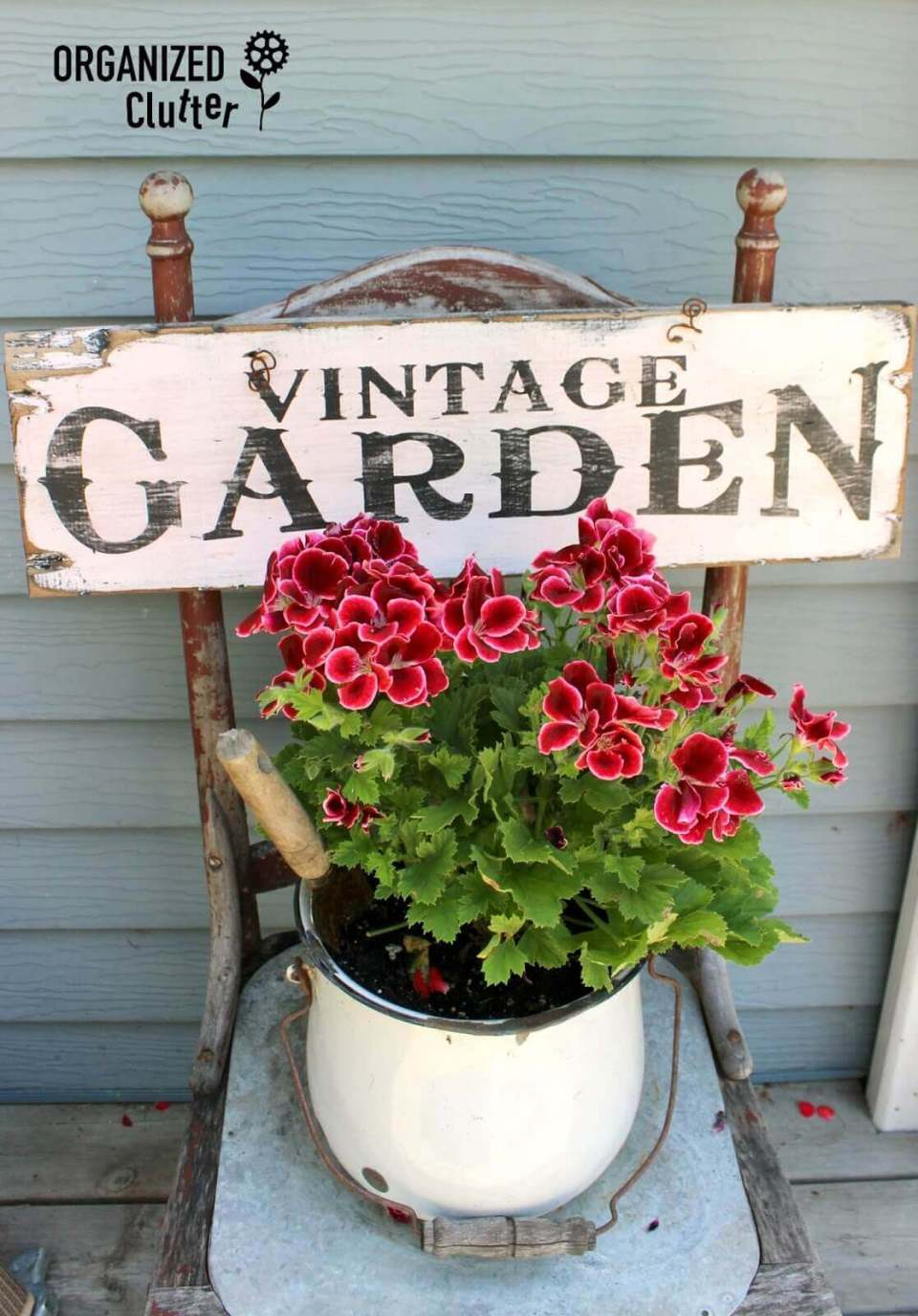 Vintage Sign on a Reclaimed Chair | Funny DIY Garden Sign Ideas